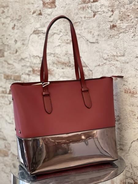 Damen rot metallische Shopper Tasche