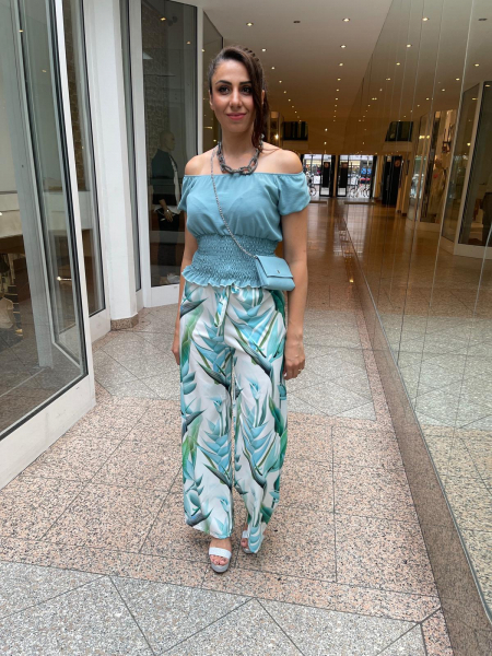 Damen weite Muster Stoffhose