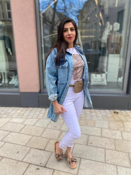 Damen Slim-Fit Jeans mit Glitzer Bordüre