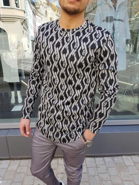 Herren Langarm Shirt mit Ketten Design