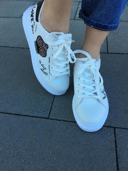 Damen Sneaker mit Glitzer Besatz und Slogans