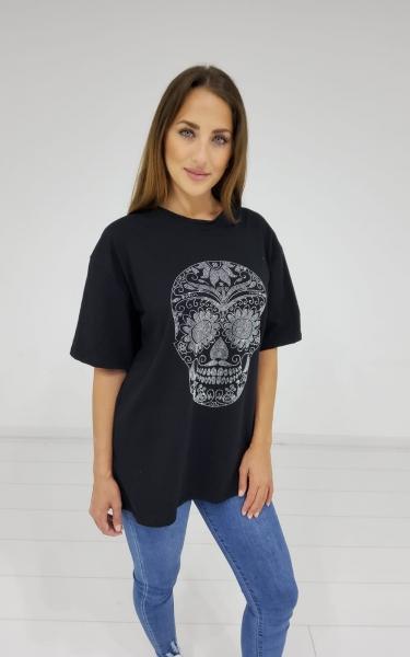 Damen Oversize T-Shirt mit Glitzer Totenkopf