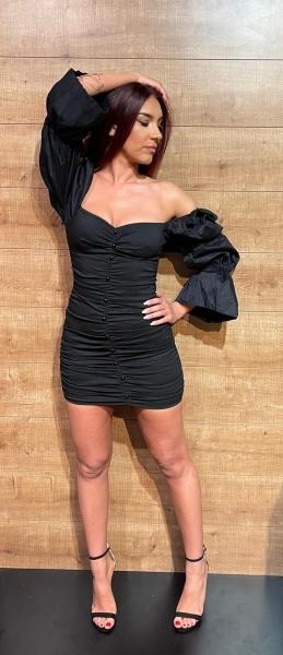 Damen Bodycon Kleid mit Puff Armen