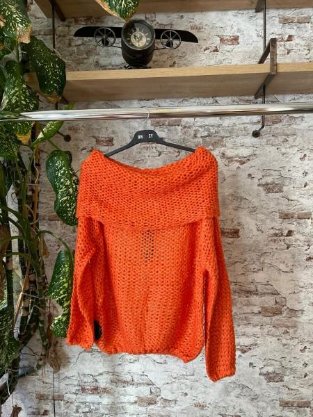 Damen Grobstrick Off-Shoulder Pullover