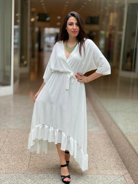 Damen Maxi Volant Kleid mit Gürtel