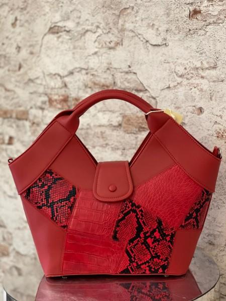 Damen rote Shopper Tasche mit Schlangen Details