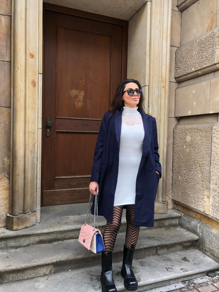 Damen dunkelblauer Mantel