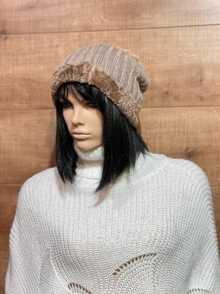 Damen Mütze mit Kunstfell Bordüre und Bommel