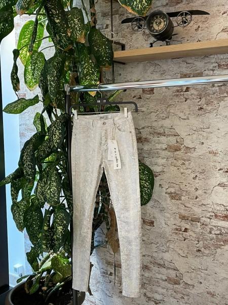Damen weiße Highwaist Skinny Jeans mit silbernem Schlangenmuster