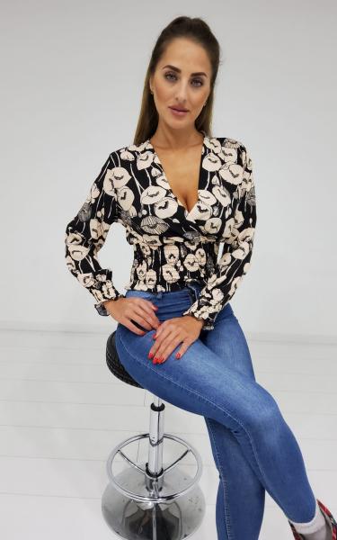Damen gesmokte Bluse mit Muster