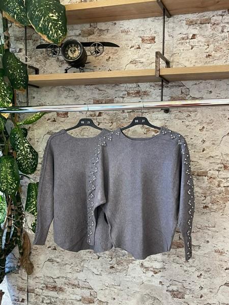 Damen Pullover mit Spitze und Glitzer, Perlen Applikationen