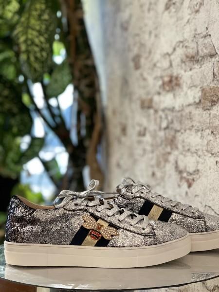 Damen silberne Sneaker mit Streifen und Bienen Applikation