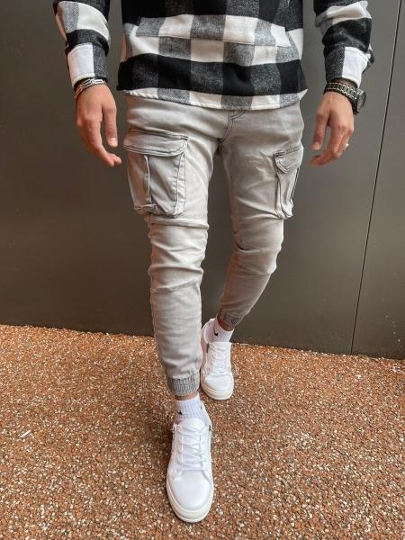 Herren Cargohose in Jeans Optik