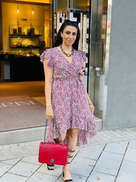 Damen Midi Kleid mit Blumenmuster