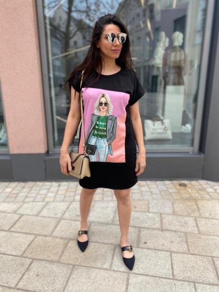 Damen T-Shirt Kleid mit Patch