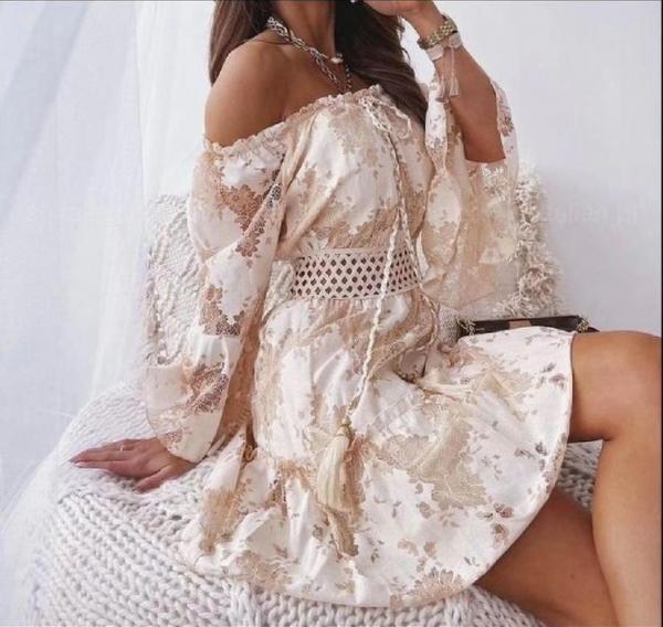 Damen Schulterfreies Boho Kleid