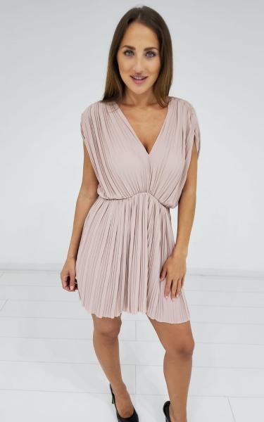 Damen Plissee Mini Kleid