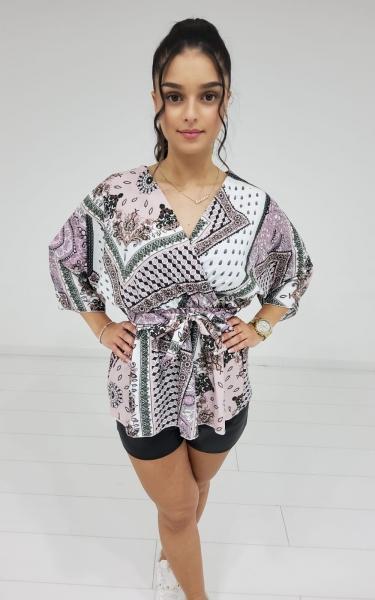 Damen Bandana Muster Bluse