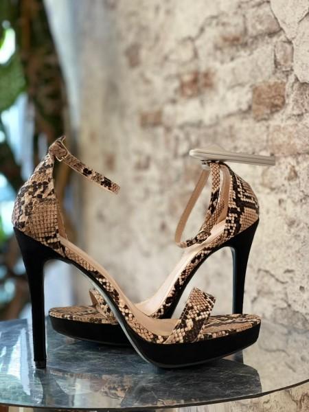 Damen beige Schlangen High Heels mit Knöchel Riemen