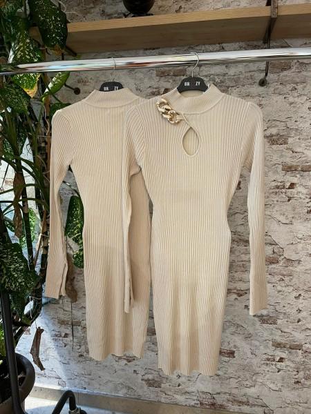 Damen Kleid mit gold Ketten Detail