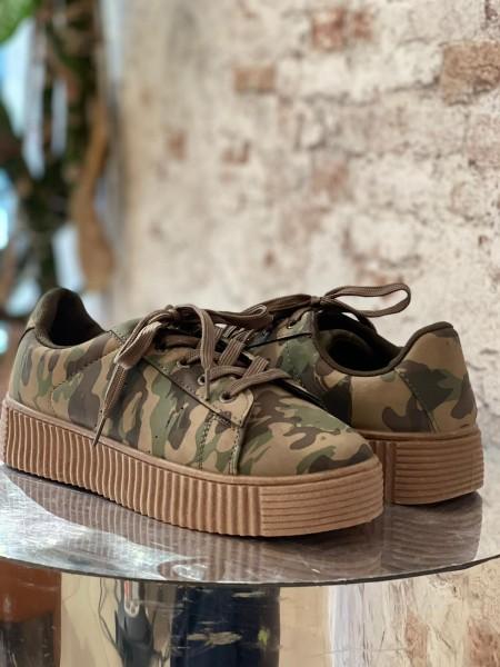 Damen schlichte Camouflage Sneaker mit Plateau Sohle
