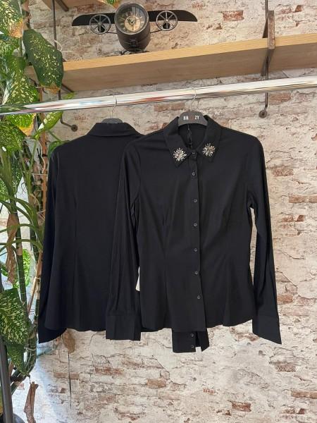 Damen Bluse mit 3D Glitzer Kragen