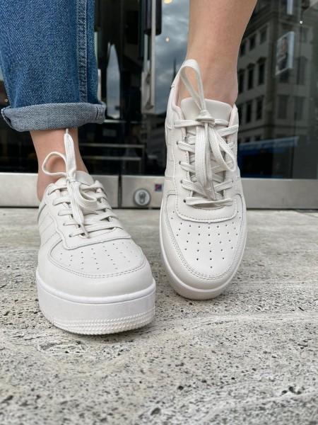 Danity Damen schlichte Sneaker mit Plateau Sohle
