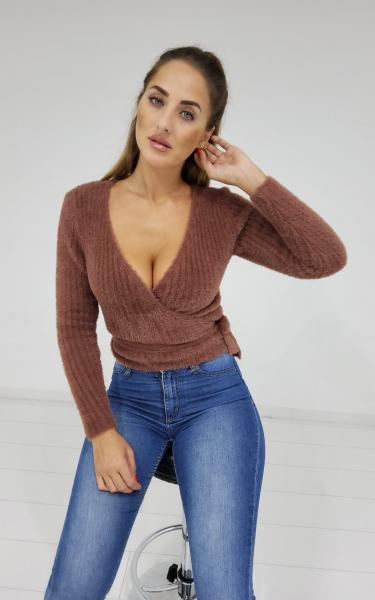 Damen fuzzy Crop Pullover