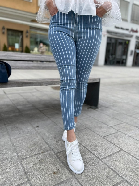 Damen gestreifte High Waist Jeans