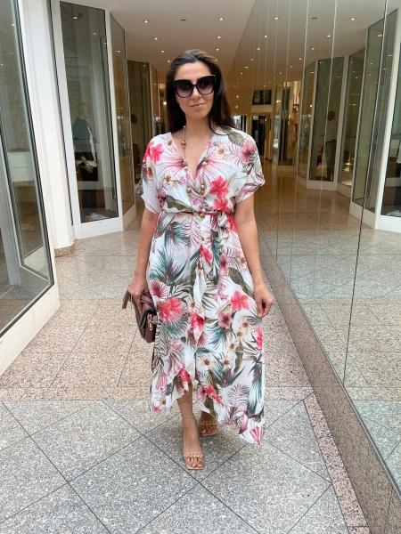 Damen tropisches Maxi Kleid