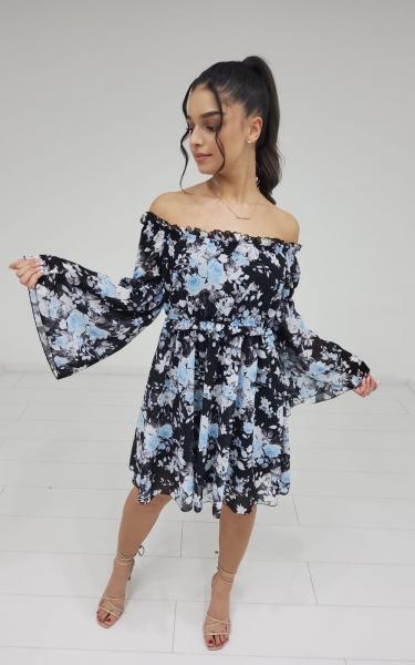 Damen Off Shoulder Blumen Kleid