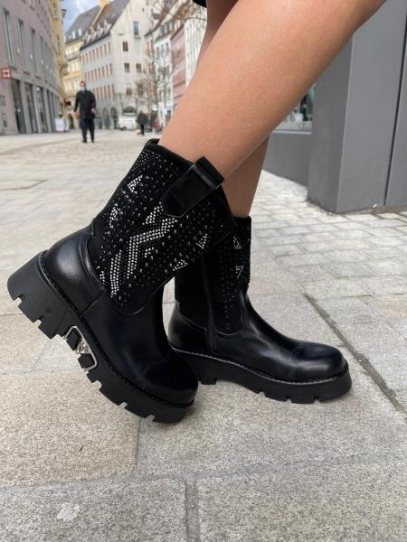Damen Cowboy Style Stiefellette mit Strassbesatz