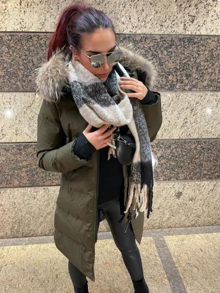 Damen Winter Mantel mit XXL Fell