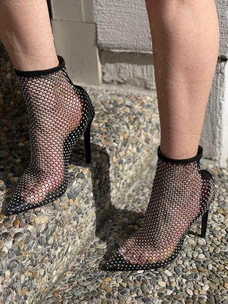 Damen Strass Netz Heels
