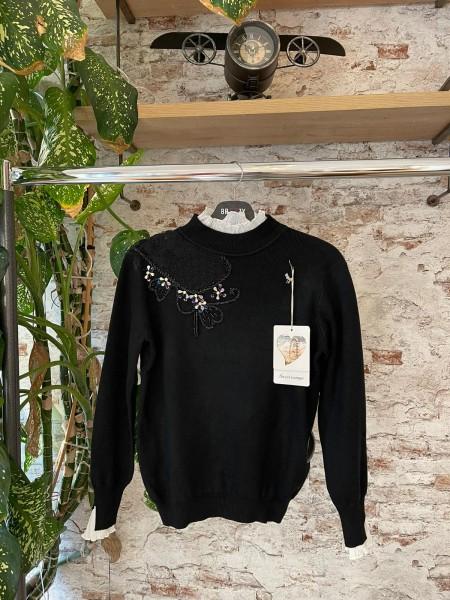 Damen Feinstrick Pullover mit transparentem Einsatz