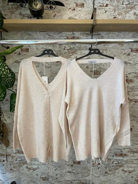 Damen Pullover mit Rücken Ausschnitt und Schnürung