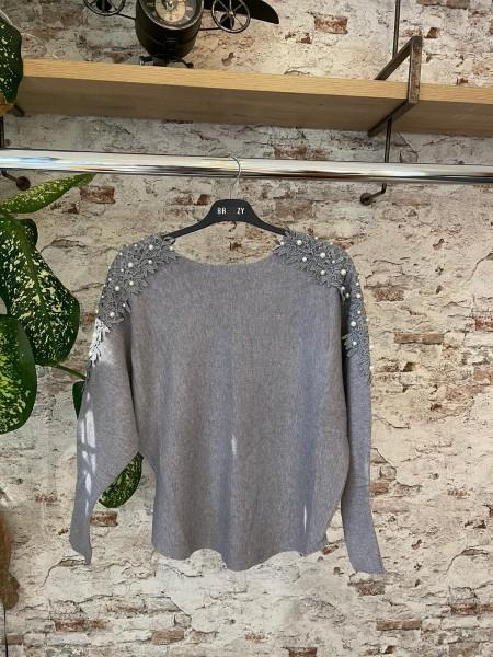 Damen Pullover mit Perlen und Spitze