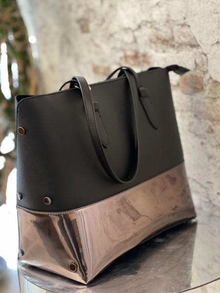 Damen schwarz metallische Shopper Tasche