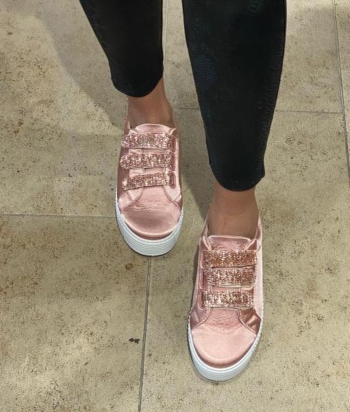 Damen Sneaker mit Glitzer Klettverschluss