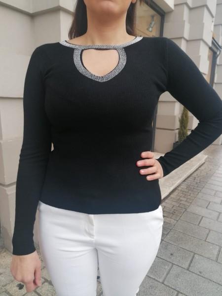 Danity Damen Feinstrick Pullover mit Glitzer Ausschnitt
