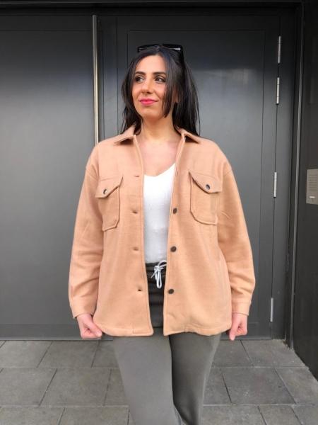 Damen Unifarbene Hemdjacken