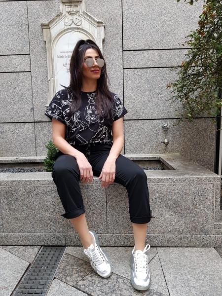 Damen Stoffhose mit Knopfleiste und Schnürsenkel-Gürtel