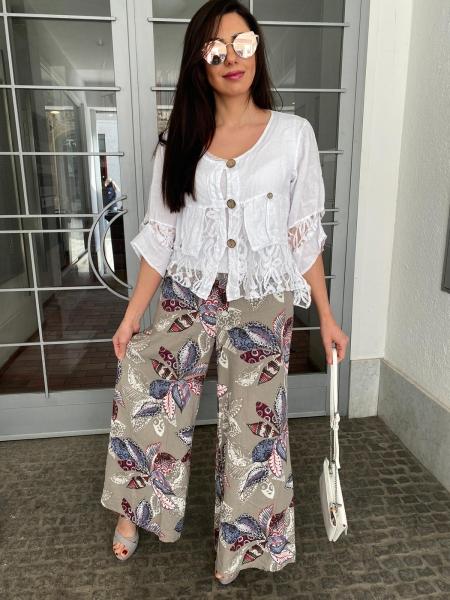 Damen weite Leinen Hose mit Print