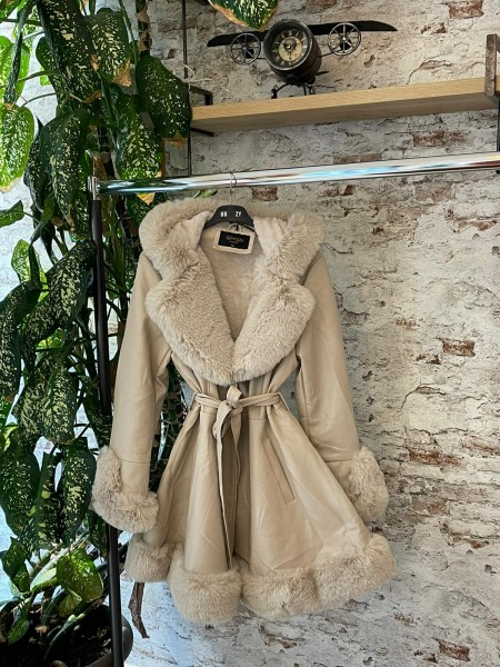 Damen Kunstfell Mantel mit Glattlederimitat