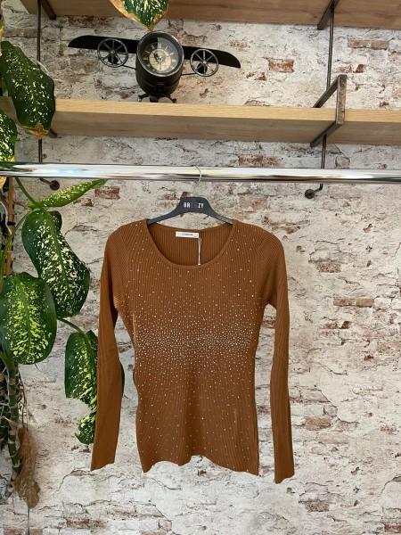 Damen Feinstrick Pullover mit Glitzer Besatz