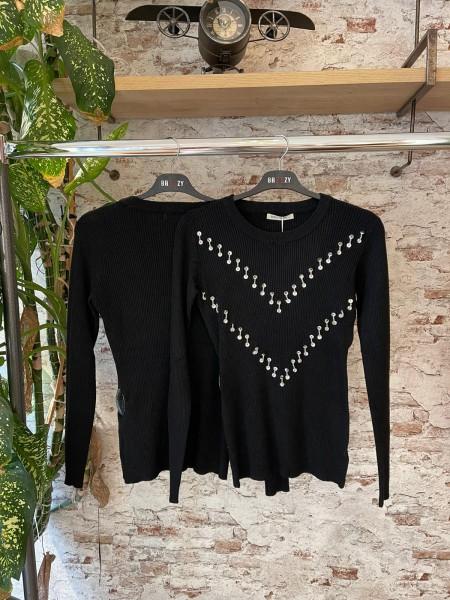 Damen Pullover mit Pailletten Besatz