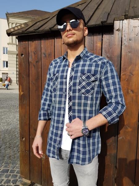 Herren Jeans Optik Hemd