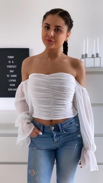 Damen schulterfreie Bluse