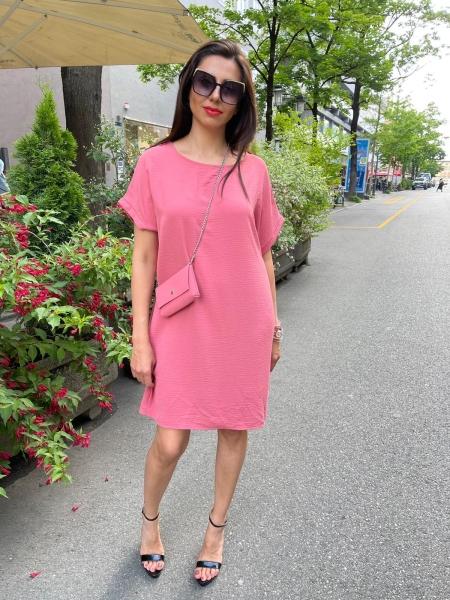Damen T-Shirt Blusen Kleid mit Tasche