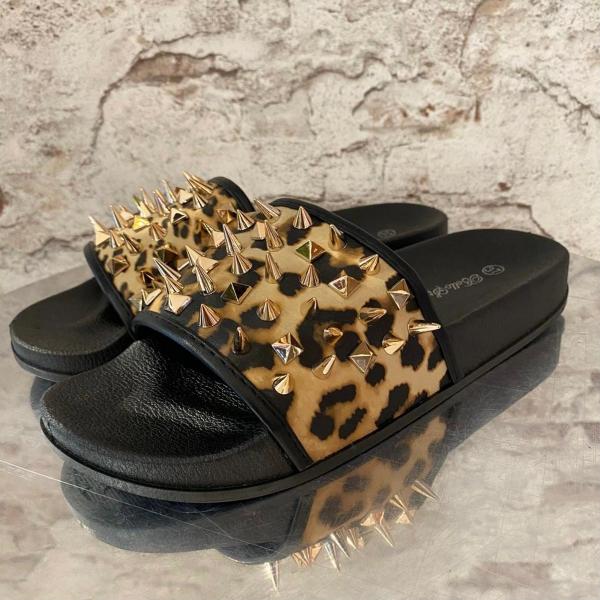 Damen Geparden Slides mit Nieten